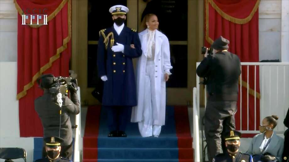 In this screengrab, Jennifer Lopez arrives to sing during the inauguration of U.S. President-elect Joe Biden on the West Front of the U.S. Capitol on January 20, 2021 in Washington, DC. After being sworn in Biden will deliver an inaugural address laying out his vision to defeat the pandemic, build back better, and unify and heal the nation. Photo: Handout/Biden Inaugural Committee Via Ge / 2021 Biden Inaugural Committee