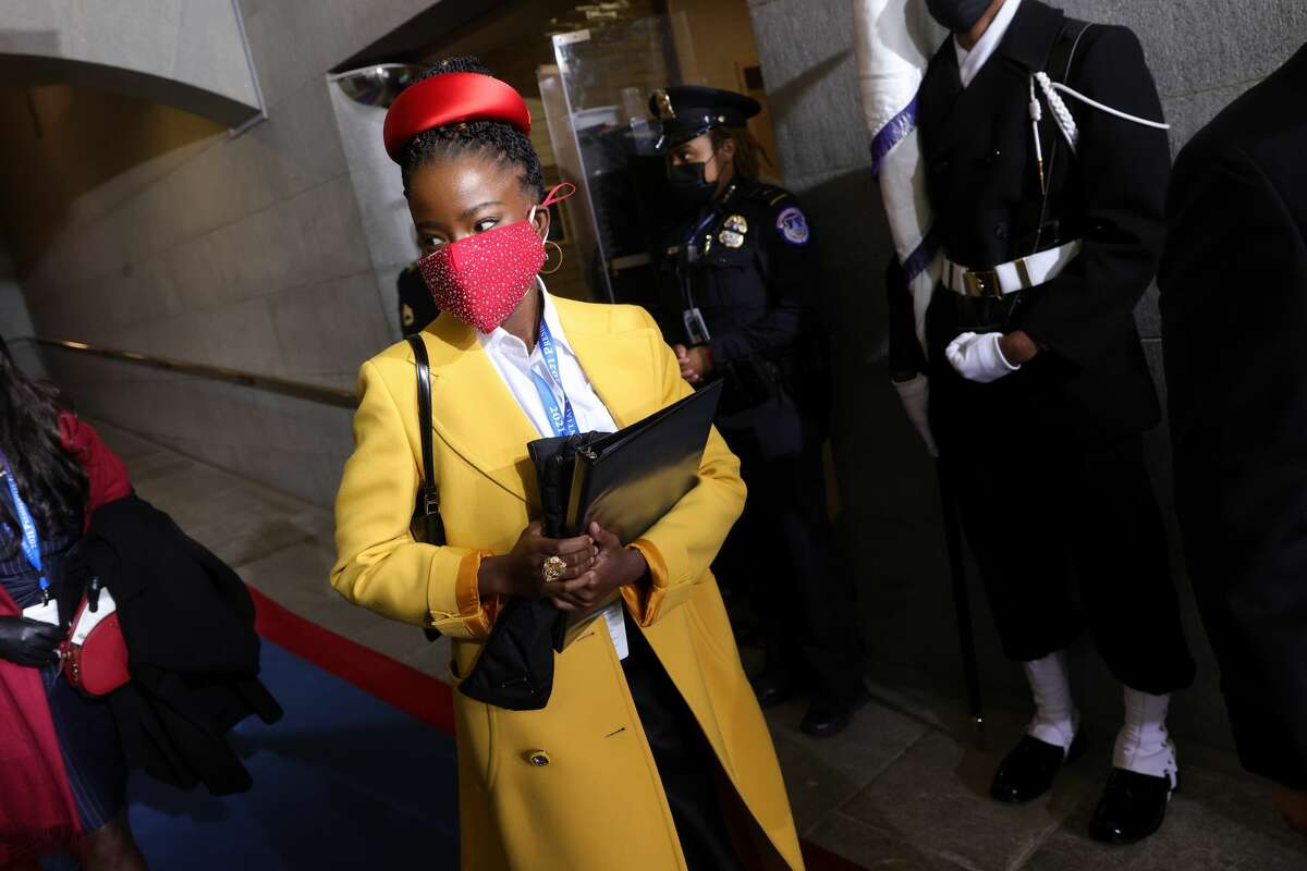National youth poet laureate Amanda Gorman arrives at the inauguration of U.S. President-elect Joe Biden on the West Front of the U.S. Capitol on January 20, 2021 in Washington, DC. During today's inauguration ceremony Joe Biden becomes the 46th president of the United States.