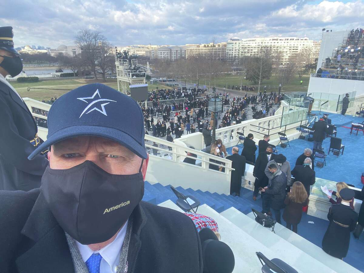 Rep. Kevin Brady, a Republican from The Woodlands, wore a Lone Star College hat to the inauguration Wednesday.