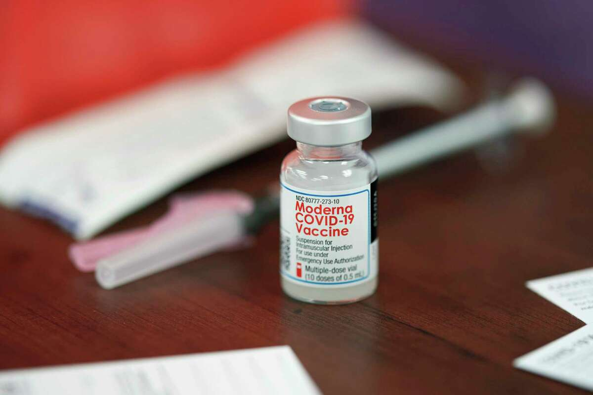 A vial of Moderna's COVID-19 vaccine in Texas, on Dec. 21, 2020.