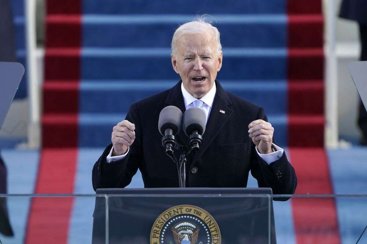 President Joe Biden speaks during the 59th Presidential Inauguration at the U.S. Capitol in Washington, D.C., Wednesday, Jan. 20, 2021.