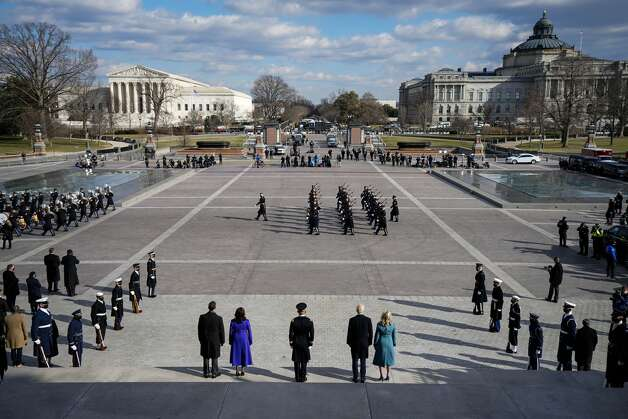 President Joe Biden, center right, first lady Jill Biden, Vice President Kamala Harris, and Doug Emhoff depart the East Front of the Capitol at the conclusion of the inauguration ceremonies, in Washington, Wednesday, Jan. 20, 2021. Photo: Melina Mara/The Washington Post Via AP / The Washington Post