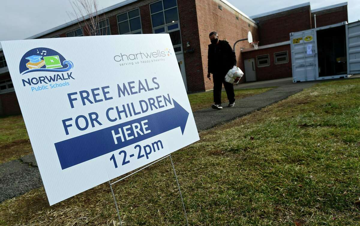 Norwalk Public Schools meal distribution sites Tuesday, January 19, 2021, in Norwalk, Conn.