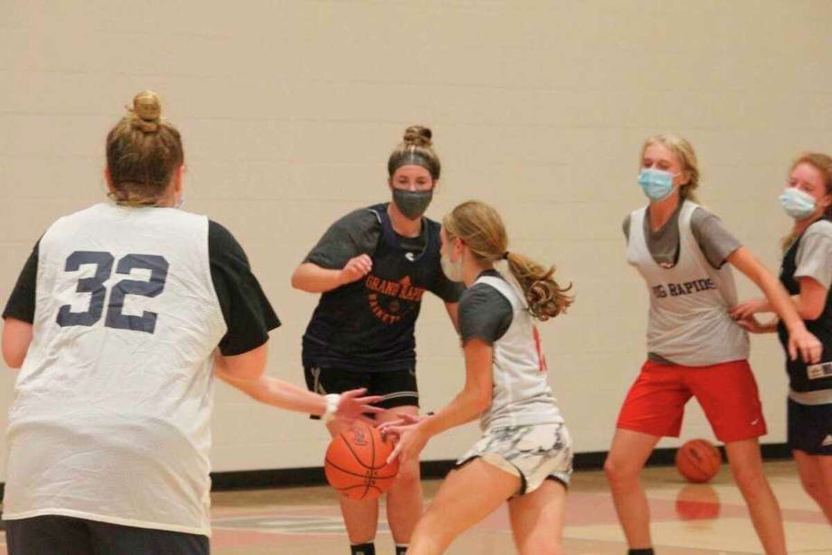 Members of the Big Rapids girls basketball team engage in drills during a recent practice. (Pioneer file photo)