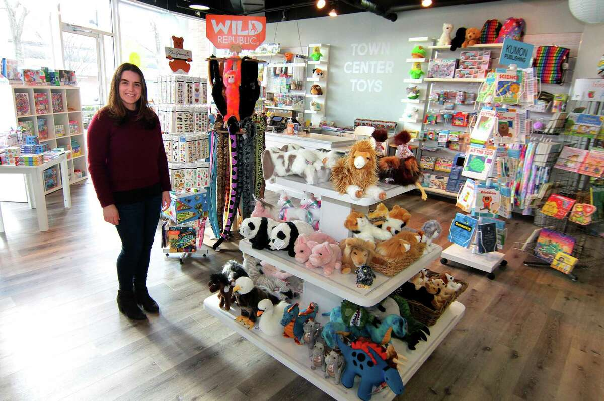Jennifer Fila, owner of Town Center Toys, poses at her store at 5 River Road in Wilton, Conn., on Wednesday Jan. 20, 2020.
