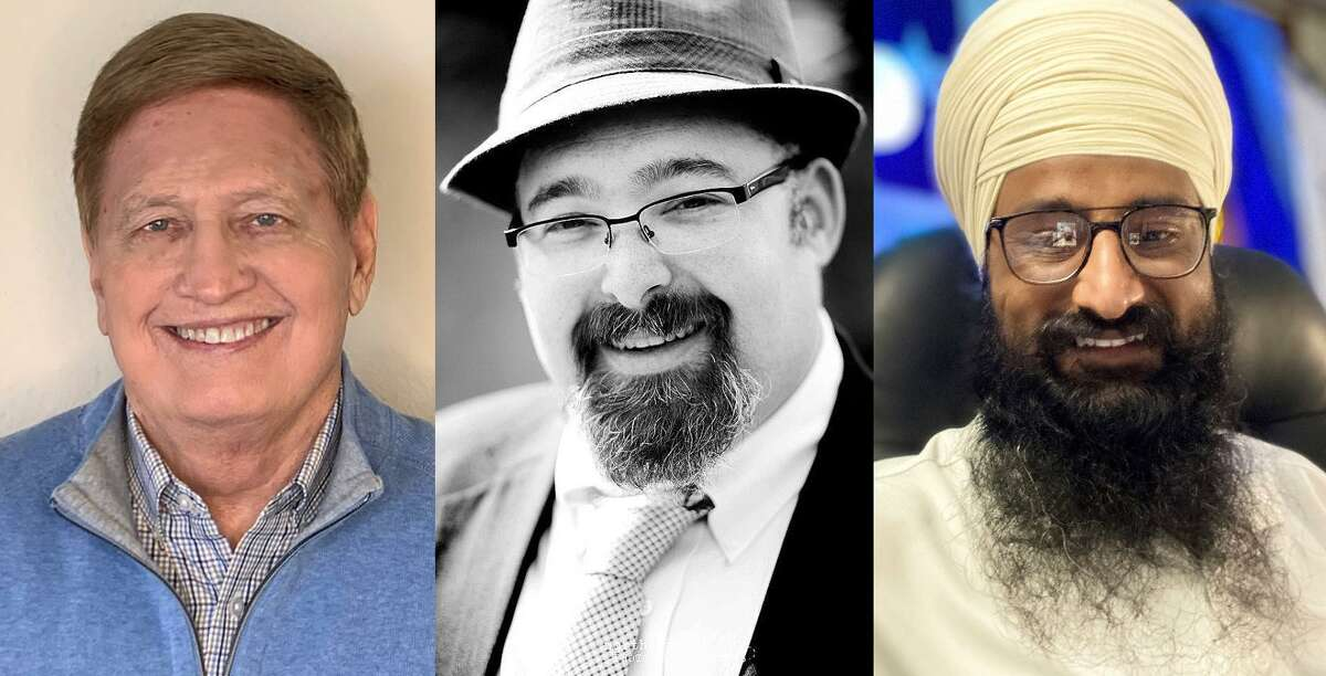 Three spiritual leaders in the northwest Houston area share their perspective on spiritual fitness heading into the new year. From left to right: Dr. Glenn Wilkerson, former senior minister at Cypress Creek Christian Church; Rabbi Jonathan S. Siger who heads the Congregation Jewish Community North in Spring; Kulbir Singh, Granthi at the Sikh Center of Gulf Coast Area, Houston.