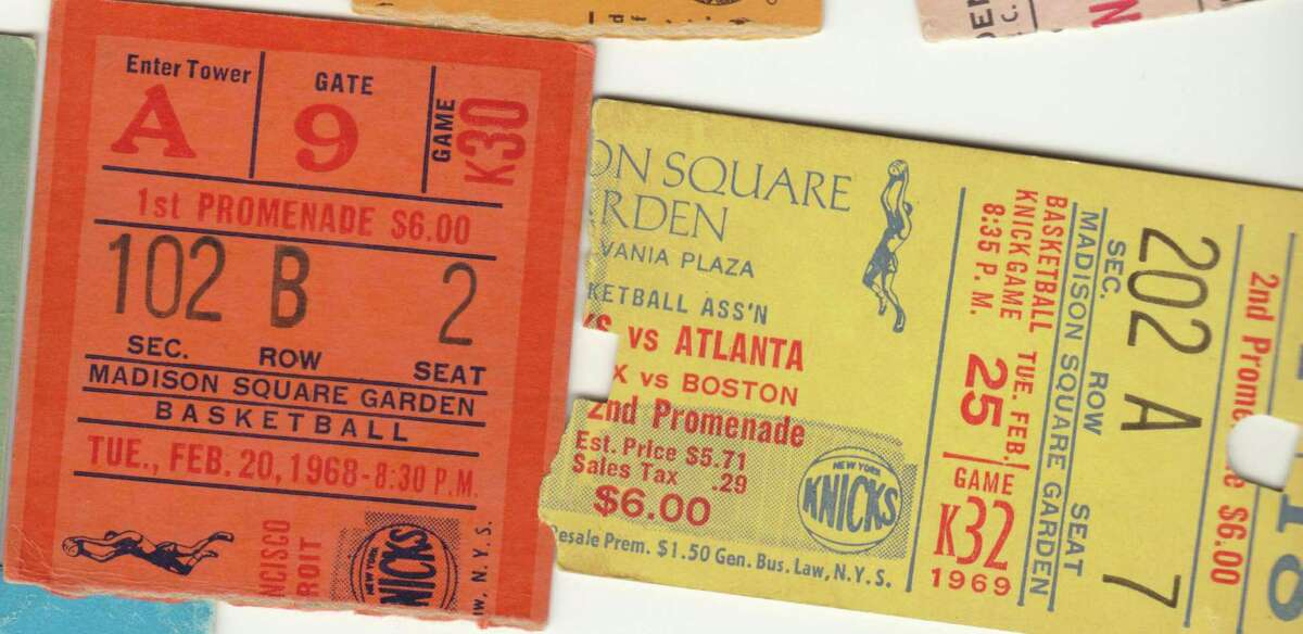 Tickets from Knicks games Westport resident Fred Cantor has attended at Madison Square Garden over the years.