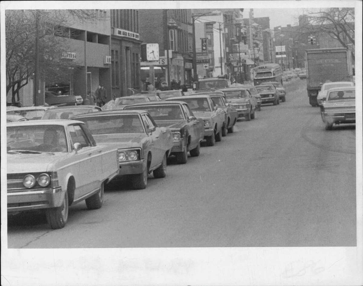 Traffic builds up on Washington Avenue in Albany in 1971. The city's population in the 1970 census was almost 115,000. (Bob Paley/Times Union Archive)