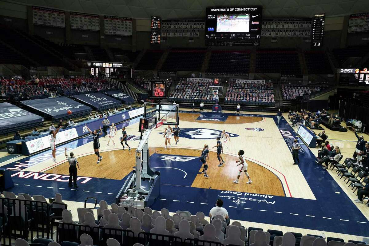 The UConn Huskies take on the Xavier Musketeers to an almost empty Harry A. Gampel Pavilion in the second half at Harry A. Gampel Pavilion in Storrs, Conn. on Dec. 19, 2020. UConn defeated Xavier 106-59. The UConn athletic budget deficit increased to $43.5 million.