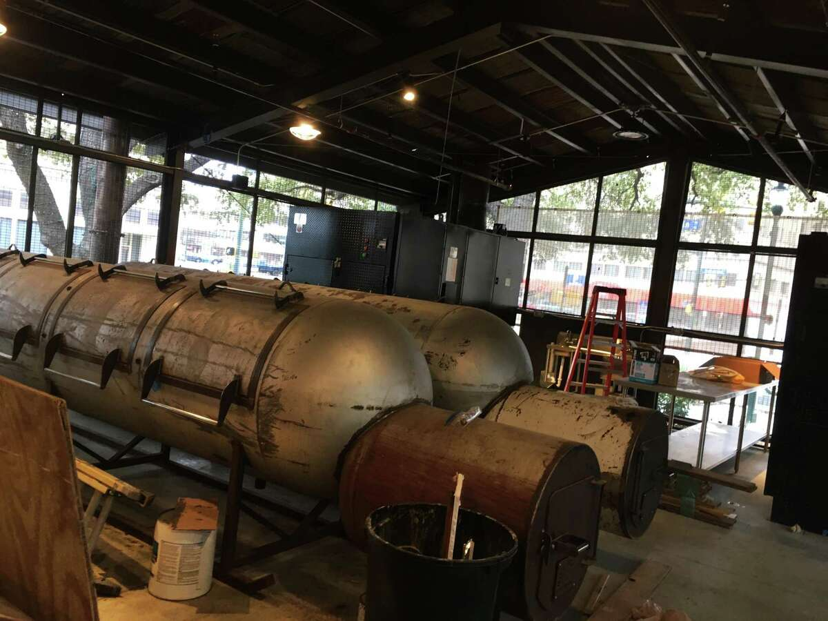Pinkerton's Barbecue is set to open in February in downtown San Antonio. This is a look inside the pit room, with three large steel smokers and two additional pits.