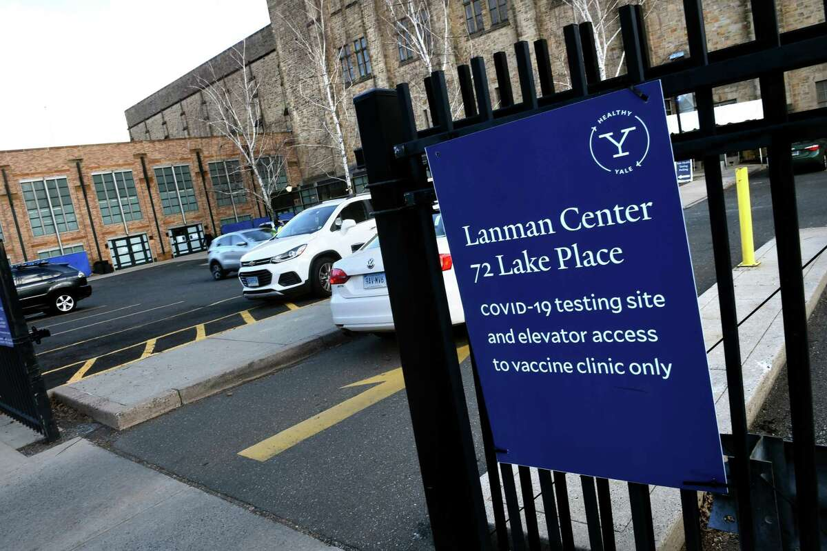 Site targeted for a COVID-19 vaccine clinic at Yale University's Lanman Center in New Haven photographed on January 20, 2021.