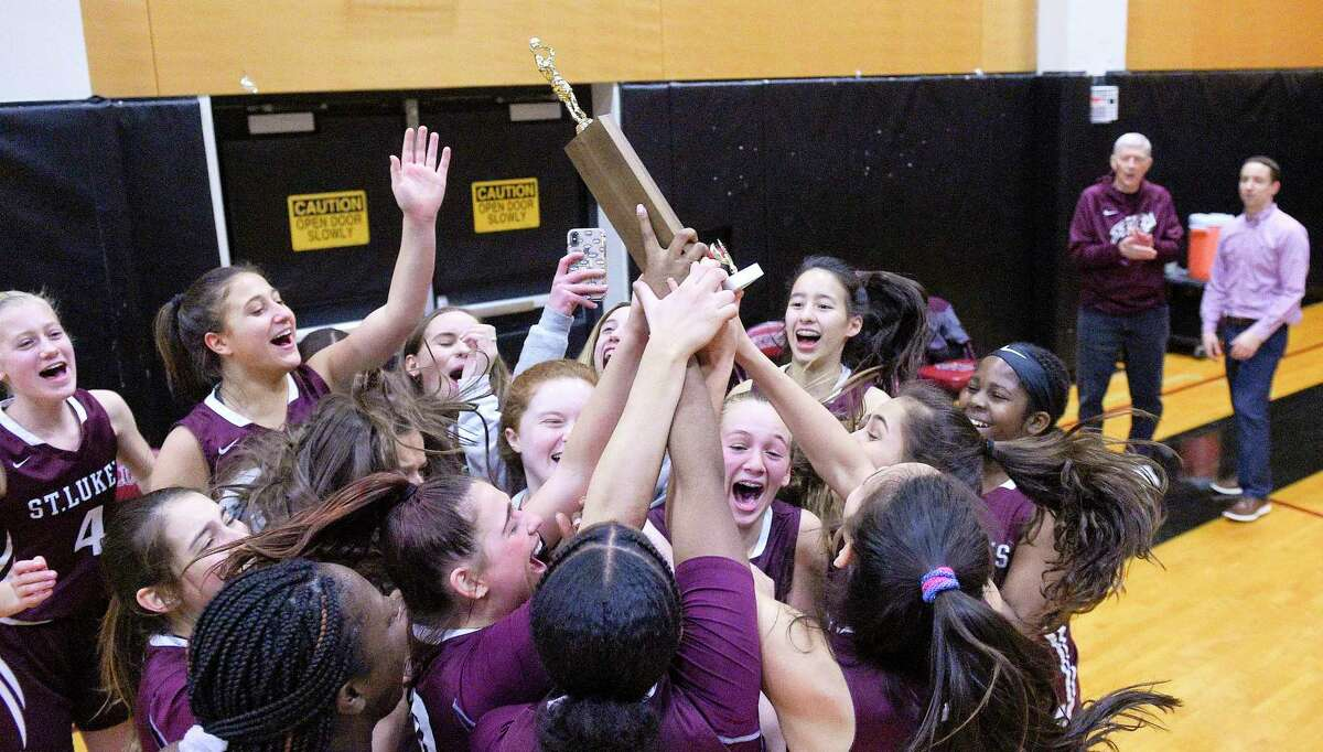 St. Luke's plays against Green Farm Academy in the FAA girls basketball final last year in New Canaan.