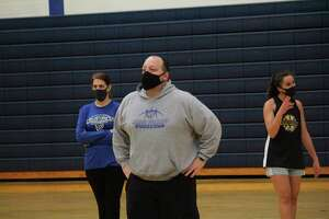 Morley Stanwood girls basketball coach Rob Brauher watches his team's practice earlier this week. (Pioneer photo/John Raffel)