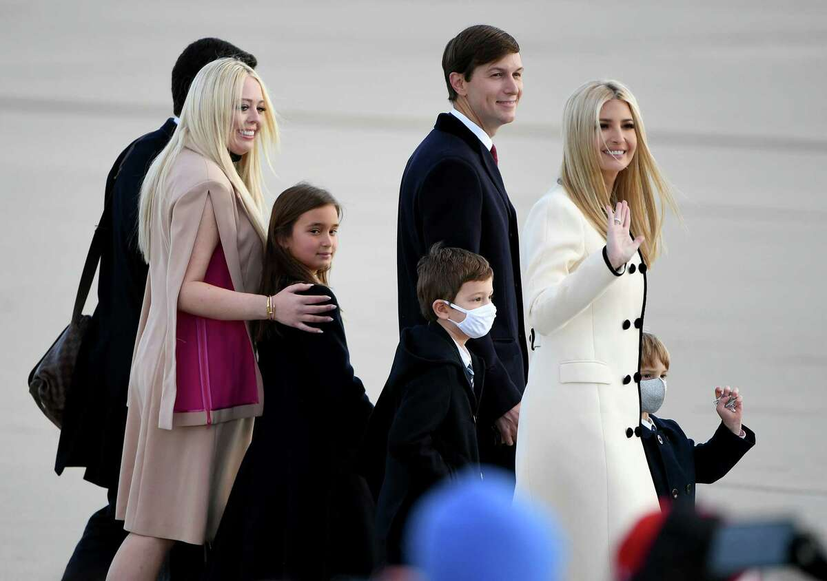 Family members of then-President Donald Trump arrive at Joint Base Andrews in Suitland, Md, on January 20, 2021.