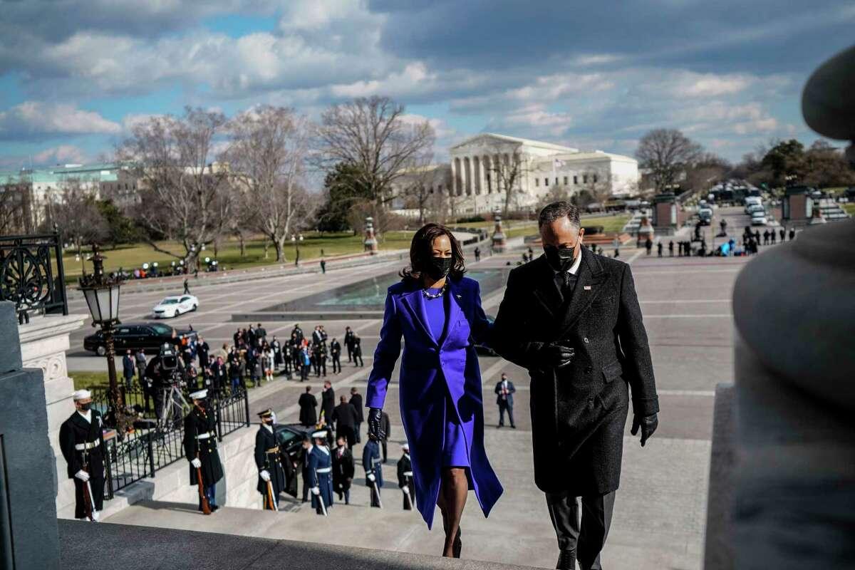 Vice President Kamala Harris and second gentleman Doug Emhoff after the inauguration on Wednesday, Jan. 20, 2021.