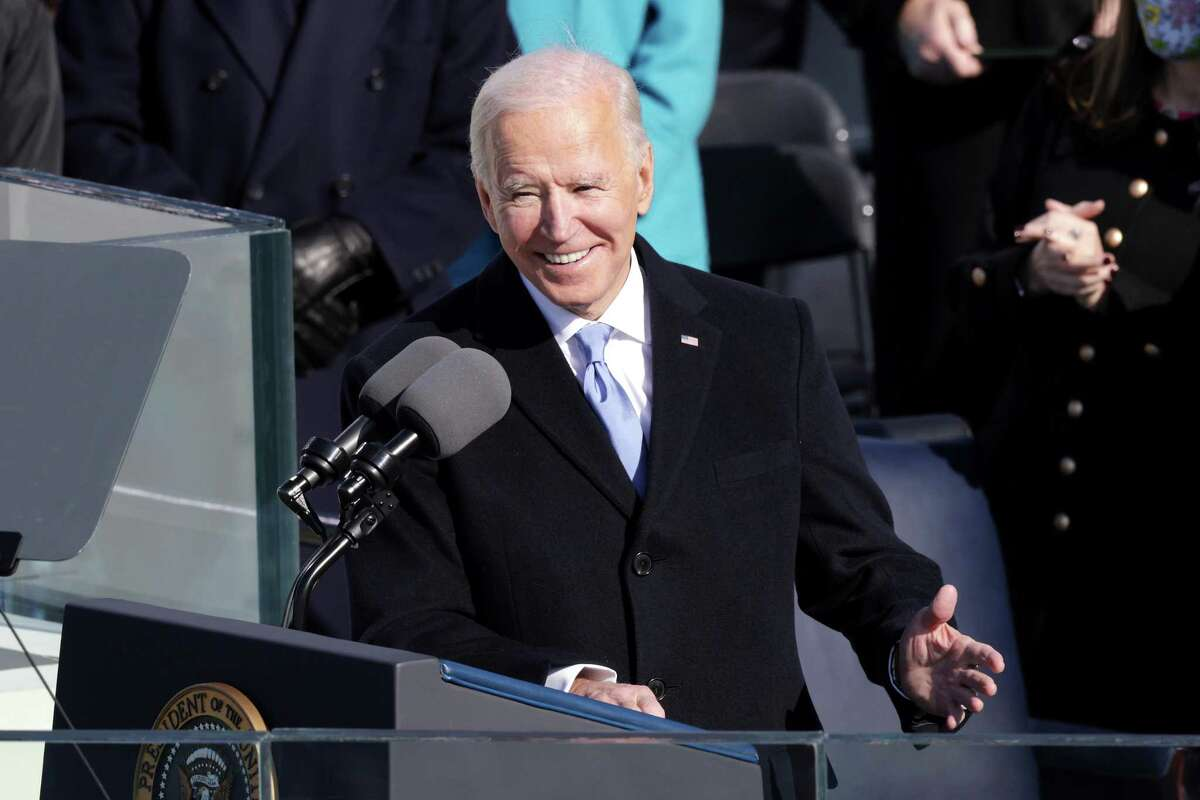 U.S. President Joe Biden reacts as he delivers his inaugural address Wednesday. The Houston and Texas economies are likely to get a short-term boost if his economic relief proposals are passed, but climate and other environmental policies could present a long-term challenge to the region's energy industry and the growth that it drives, analysts said.