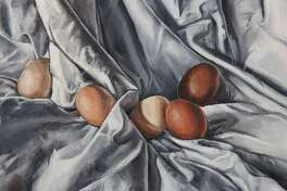 """Abigail E. Wixom, """"Eggs and Drapery I,"""" Horace Greeley High School, Chappaqua, N.Y., Grade 10, Age 16. The art museum, MoCA Westport, located at 19 Newtown Turnpike, in Westport, has a High School Student Art Exhibition titled: """"Hindsight is 2020"""" that will be on view in the art museum's physical gallery location, and also in a digital gallery on the museum's website, mocawestport.org, from Saturday, January 23, until Saturday, March 13."""