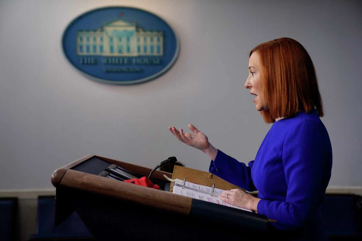 White House press secretary Jen Psaki speaks during a press briefing at the White House, Wednesday evening in Washington.