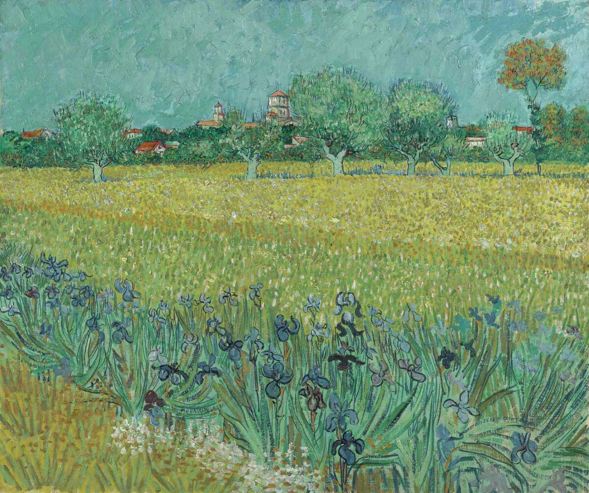 """Vincent Van Gogh's """"Field with Irises Near Arles"""" is among works on view in """"Hockney-Van Gogh: The Joy of Nature"""" at the Museum of Fine Arts, Houston Feb. 21-June 20."""