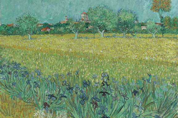 "Vincent Van Gogh's ""Field with Irises Near Arles"" is among works on view in ""Hockney-Van Gogh: The Joy of Nature"" at the Museum of Fine Arts, Houston Feb. 21-June 20."