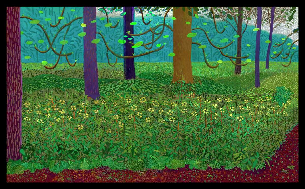 """""""Under the Trees, Bigger,"""" painted in oil on 20 canvases, is among the works by David Hockney in """"Hockney-Van Gogh: The Joy of Nature"""" at the Museum of Fine Arts, Houston Feb. 21-June 20."""