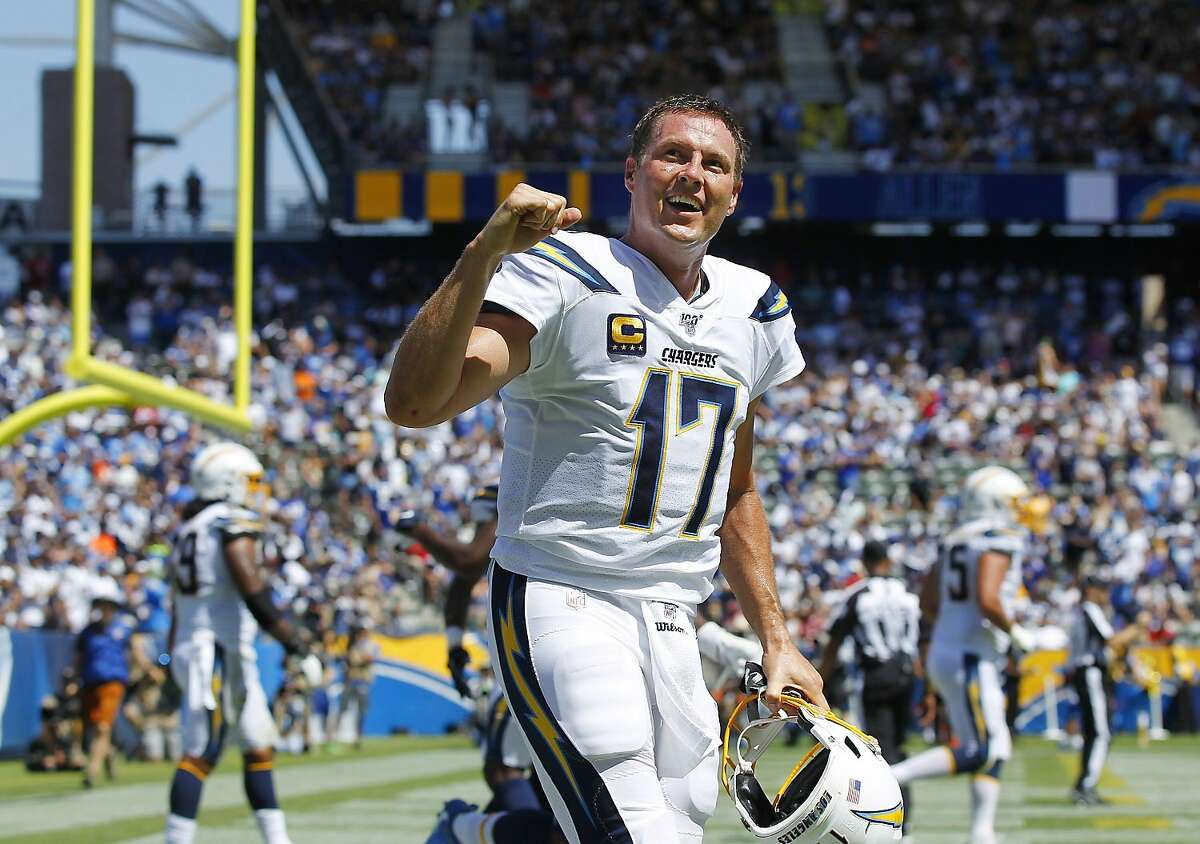 Philip Rivers, shown with the Chargers in 2019, won 134 regular-season games - No. 2 among quarterbacks without a Super Bowl ring - and is eighth on the all-time list.