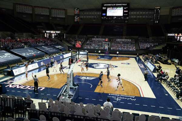 The UConn Huskies take on the Xavier Musketeers to an almost empty Harry A. Gampel Pavilion in the second half at Harry A. Gampel Pavilion in Storrs, Conn. on Dec. 19, 2020.