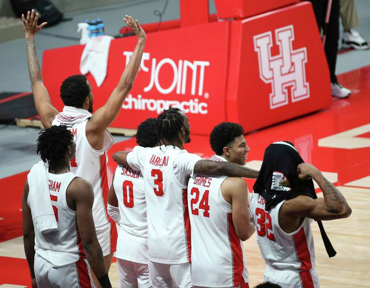 during the second half of the AAC game Wednesday, Jan. 20, 2021, at Fertitta Center in Houston. Houston Cougars defeated Tulsa Golden Hurricane 86-59.