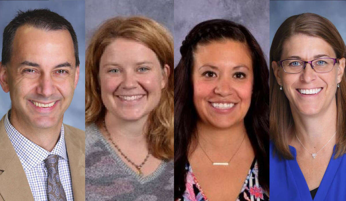 Jim Woehrle, Kara Eddy, Sarah Doughty and Monique Albright received Gerstacker Excellence in Teaching awards.