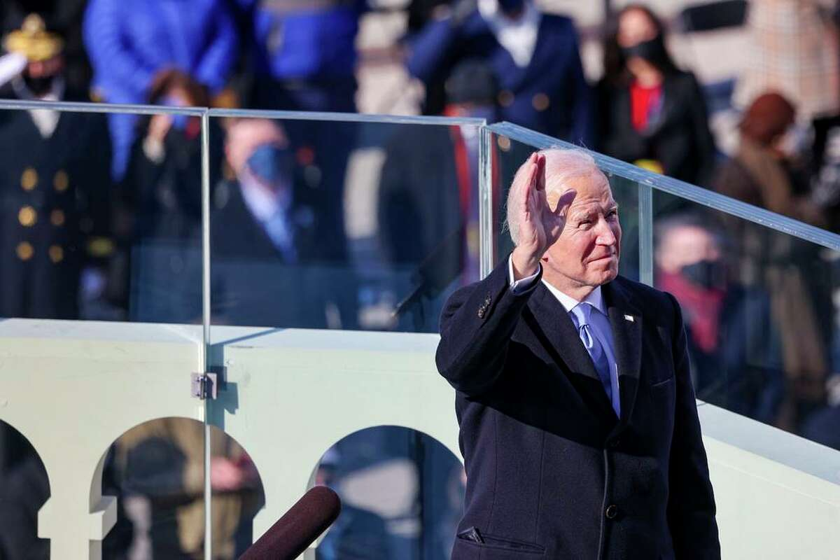 President Joe Biden reacts as he prepares to deliver his inaugural address on the West Front of the U.S. Capitol Jan. 20, 2021 in Washington.
