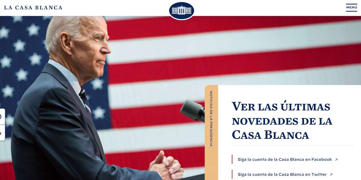 The White House website, which can be toggled to a Spanish version at the bottom of the page, and La Casa Blanca Twitter account were live on day 1 of the Biden administration.