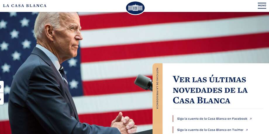 The White House website, which can be toggled to a Spanish version at the bottom of the page, and La Casa Blanca Twitter account were live on day 1 of the Biden administration. Photo: Screenshot