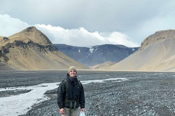 Michael Thorpe is pictured in Iceland in 2019. Thorpe led a study that found Gale Crater on Mars once had weather similar to Iceland, where temperatures generally remain below 38 degrees.