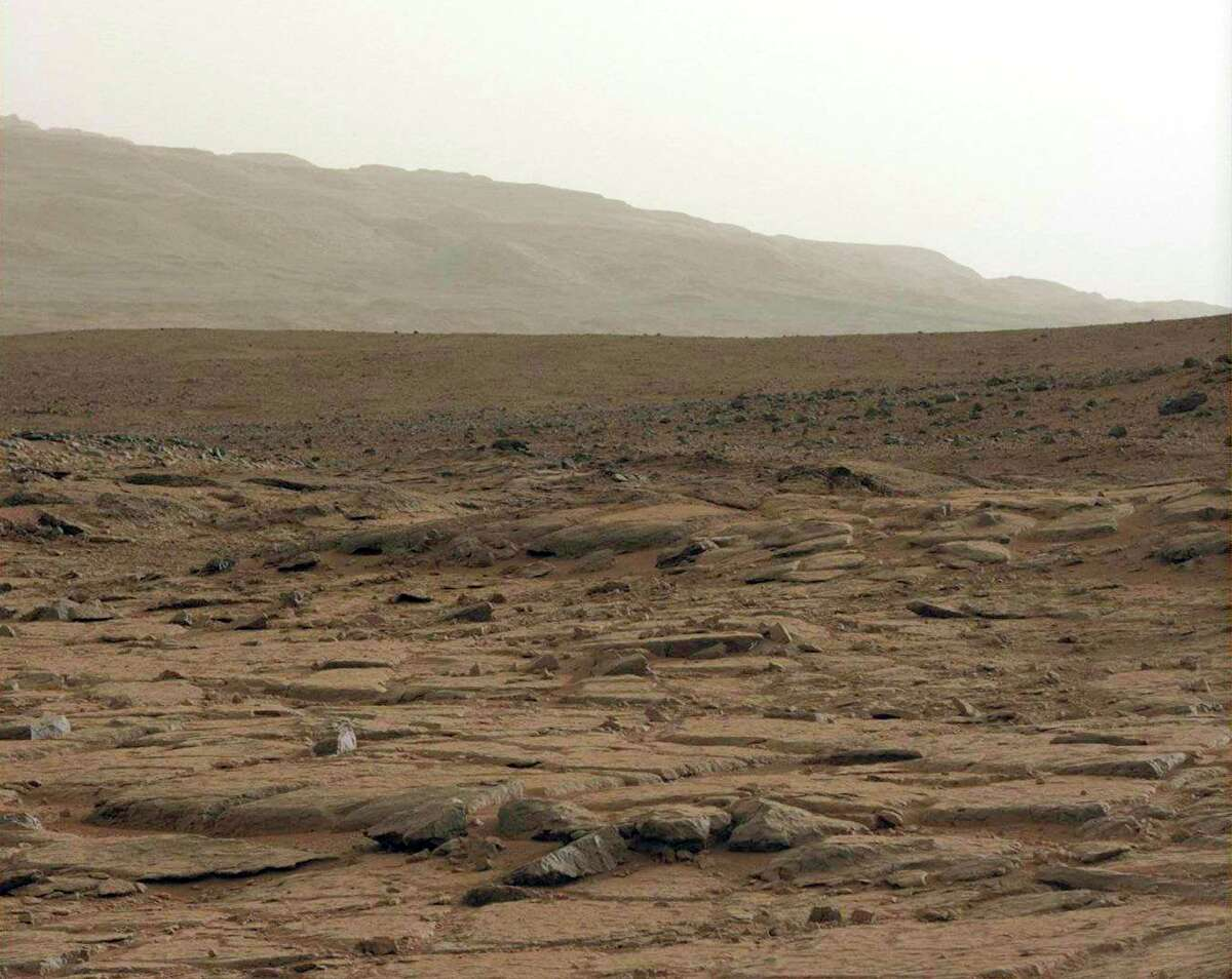 A view from inside the Gale Crater as seen by the Mars Curiosity Rover, in a Jan. 27, 2013 handout image.