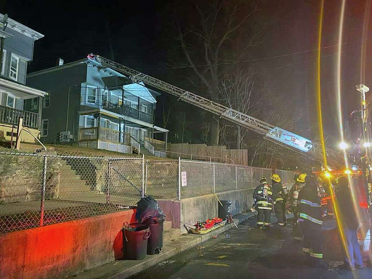 Fire units on scene for a fire in Derby, Conn., on Tuesday, Jan. 19, 2021.
