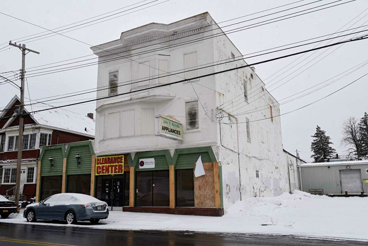 Exterior of fire damaged Marcellas Appliance Center on Thursday, Jan. 21, 2021 in Schenectady, N.Y. The City Planning Commission approved plans to tear down the structure located at 810 Crane St. (Lori Van Buren/Times Union)