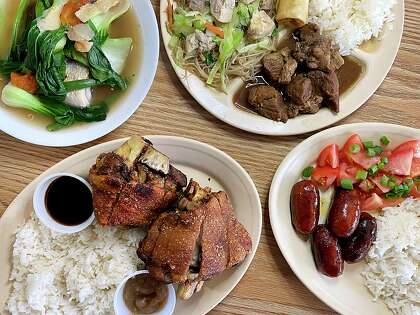 The menu at Lily's Philippine Bakery and Restaurant includes, clockwise from top left, a fish soup called sinigang bangus, a sampler plate (pancit, pork adobo, lumpia), sweet longanisa sausage and crispy pata (fried hamhocks).