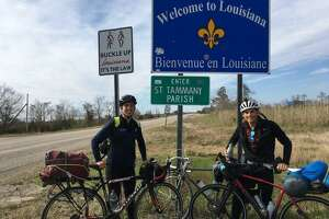 Ryan Fox (on left) and Matthew McGowen (on right) on a cross country bike trip from Albany, New York to Albany, Oregon.