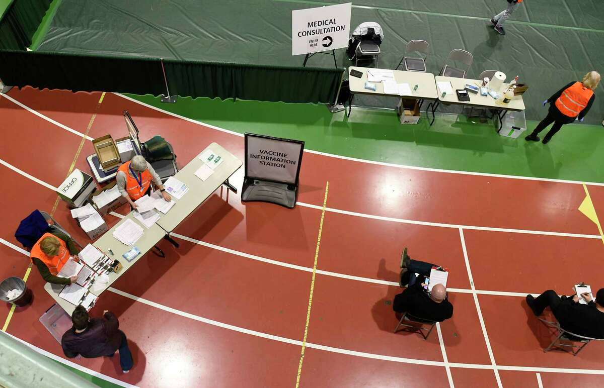 A site for people to receive the COVID-19 vaccine is set up at the McDonough Sports Complex at Hudson Valley Community College on Thursday, Jan. 21, 2021 in Troy, N.Y. (Lori Van Buren/Times Union)
