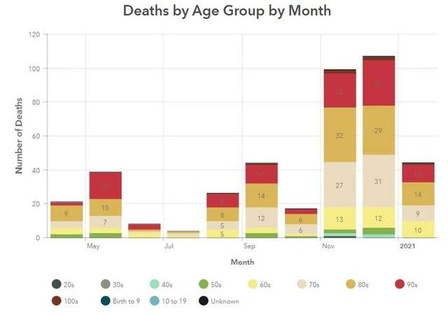 This Madison County Health Department graphic illustrates the number of COVID-19 deaths recorded within the county for each month.