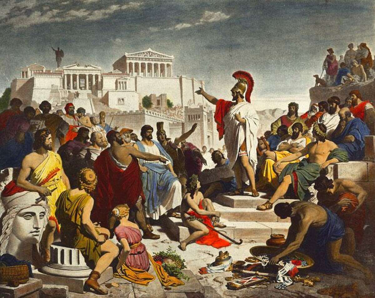 Pericles Gives the Funeral Speech (Perikles hält die Leichenrede), by painter Philipp von Foltz (1852)