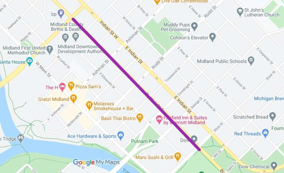 A thick purple line shows the portion of Buttles Street, US-10 Business Route, that is proposed to change from three lanes down to two. The one-way road takes traffic southeast, adjacent to the downtown district. (Screen photo/Google Maps) Photo: Google Maps