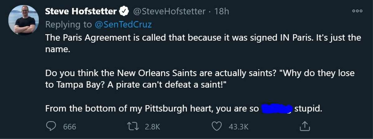 Steven Hofstetter, a comedian, tried to use a New Orleans analogy to explain the situation to Cruz.