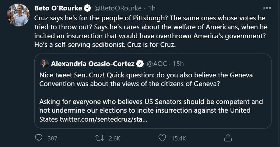 "Beto described Cruz as a ""self-serving seditionist,"" blaming him for help incite the insurrection at the Captiol. Photo: Twitter"