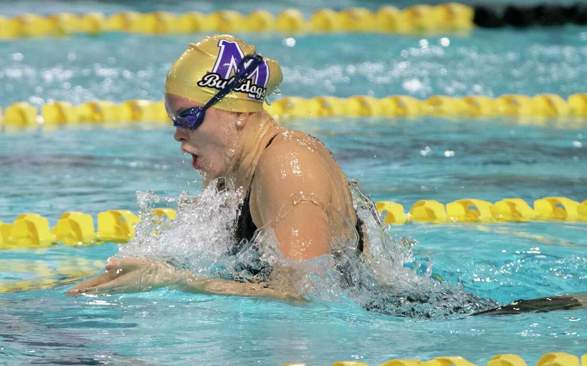 Midland High's PJ Day swims breast for the girls 200 yard medley relay 01/21/2021 at COM Aquatics. Tim Fischer/Reporter-Telegram
