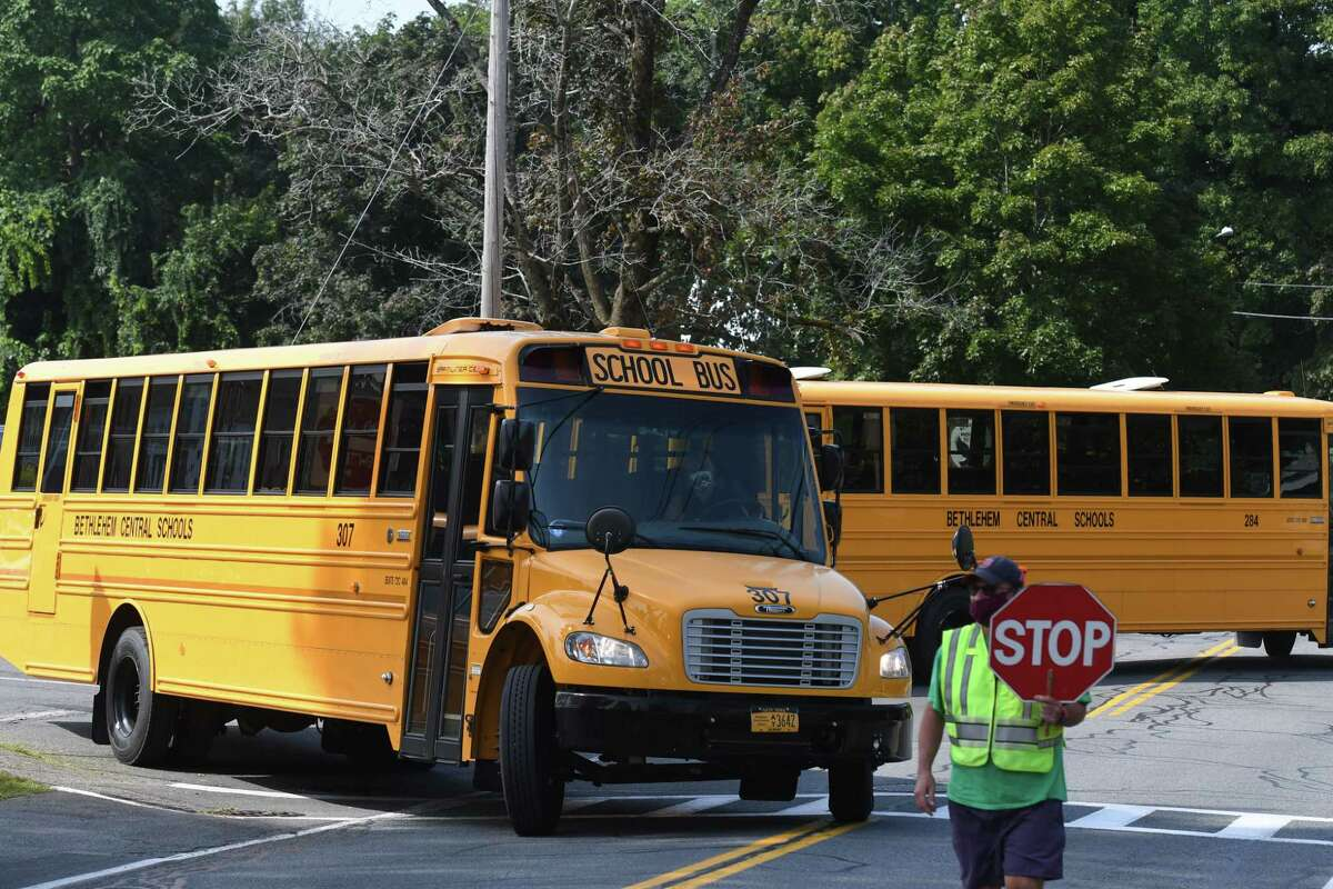 Bethlehem Middle School students are transported home following school orientation on Wednesday, Sept. 9, 2020, on Kenwood Avenue in Delmar, N.Y. (Will Waldron/Times Union)