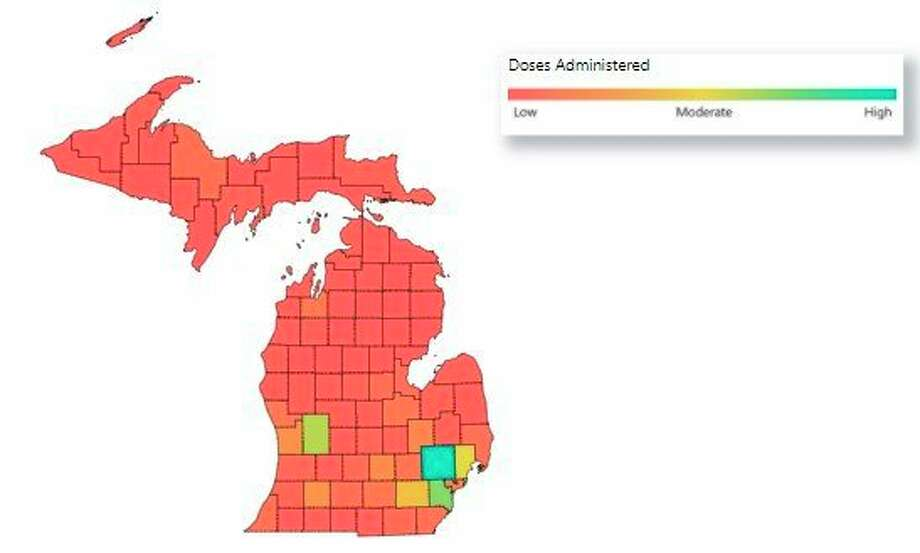 There have been 598,127 vaccine doses administered in Michigan, according to data from the Michigan Department of Health and Human Services. (Screenshot of MDHHS website)