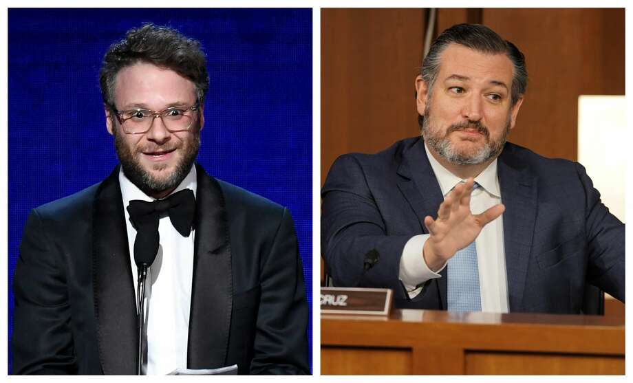 Seth Rogen and Ted Cruz exchanged words on Twitter. Photo:  Frazer Harrison/Getty Images And  Greg Nash-Pool/Getty Images