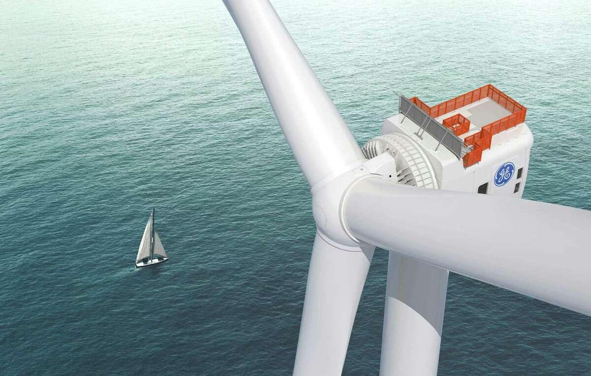 A rendering of GE's Haliade-X offshore wind turbine