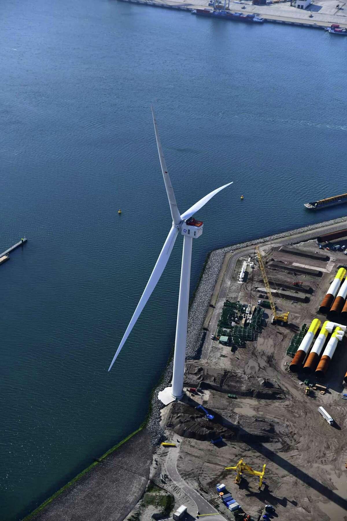 A photo of GE's Haliade-X offshore wind turbine